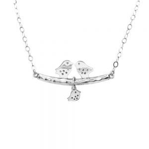 Birds silver necklace